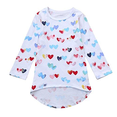 JERFER Kleinkind Baby Mädchen Bunte Herzen Druck Prinzessin Kleid Kleidung Outfits 2-6 Jahre (Weiß, 4T)