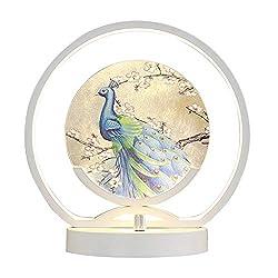 Hong Yi Fei-shop Nachttischlampe Romantische Nacht Zähler Lampe Rundschmiedeeisen Rahmen und Acryl Lampshade Pfau Dekorative Tischleuchte Durchmesser 24 cm (weiß) Schreibtischleuchte