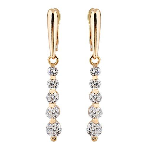 YAZILIND Elegante 18K Gold überzog runde weiße Zirkonia CZ Troddel baumeln Ohrringe für Frauen
