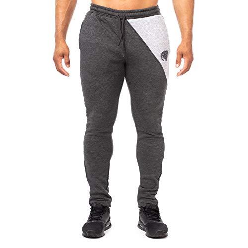 Smilodox Herren Sport Hosen Slim Fit Jogginghose, Größe:L;Farbe:Anthrazit/Grau