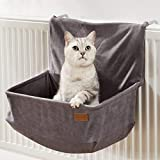 PiuPet® Cats heating bed - suitable for all common radiators - cat hammock heater - also suitable for cats up to 7kg - hammock cat gray