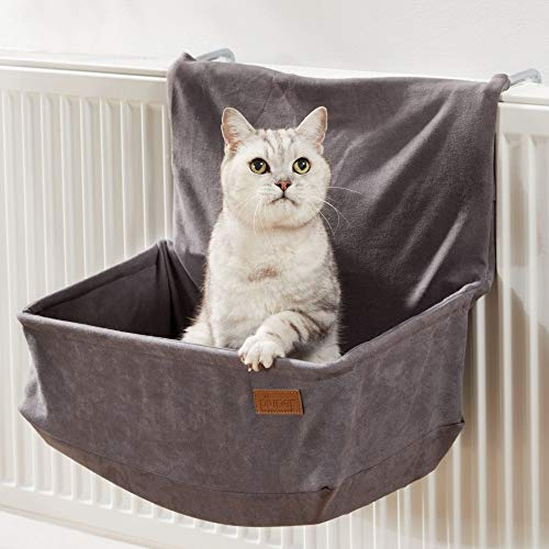 PiuPet® Katzen Heizungsliege - passend für alle gängigen Heizkörper - Katzenhängematte Heizung - auch für große Katzen geeignet - Hängematte Katze