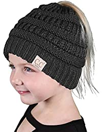 9d65f13bc2b08 Funky Junque BeanieTail Children s Ponytail Messy Bun Beanie Solid Ribbed  Hat