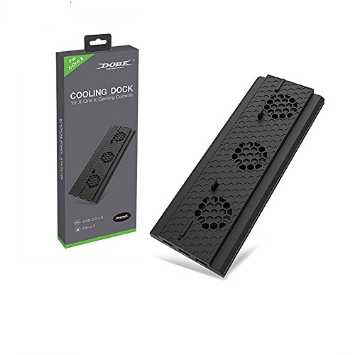 Xbox One X Standfuß - KONKY Vertikaler Ständer mit Eingebautem kühler Lüfter und 3 USB Ports für Xbox One X Console, Schwarz -