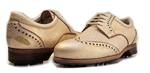 Henry & Magda , Chaussures de Golf Pour Femme| Soft Spikes Semelle en cuir | Imperméable à l'eau ( 37.5 EU DERBY GOLDEN SAND)