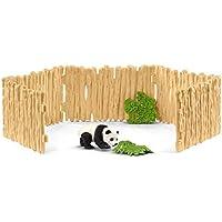 Schleich-42429 Recinto cercado para Osos Panda, Color Beige, Madera (42429)