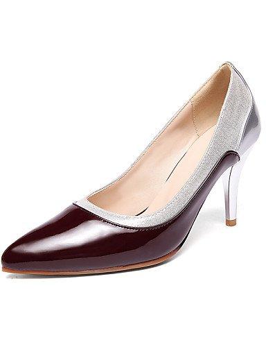 WSS 2016 Chaussures Femme-Bureau & Travail / Décontracté-Noir / Bordeaux / Amande-Talon Aiguille-Talons / Bout Pointu-Talons-Cuir Verni burgundy-us9 / eu40 / uk7 / cn41