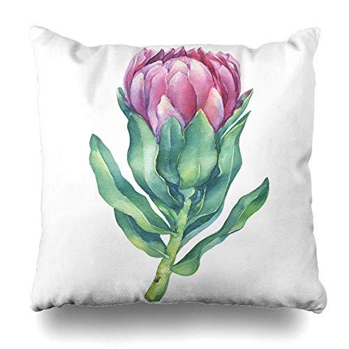 (saletopk Kissenbezug Strandgrün Aloha Blüten Tropische Rosa Blume King Protea Natur Afrika Lila Aquarelle Home Decor Kissenbezug quadratisch Größe 45,7 x 45,7 cm Dekorative Kissenbezug)