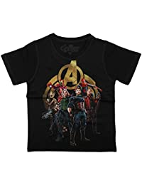 Marvel Avengers Boys Cotton Poly Round Neck Short Sleeves Tshirt - Black (DMA0047.2)