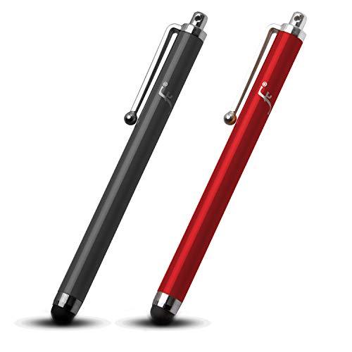 Forefront Cases Kindle Paperwhite 2018 Universal Eingabestift Stylus | Gummi Gespitztes Metallischer iOS Stift | Kratz- & Fettpräventionskit | Styli - Schwarz + Rot [2 STÜCK]