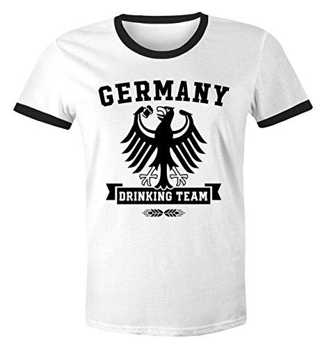 Fieber Schwarzes T-shirt (MoonWorks Lustiges Herren WM-Shirt Fußball Deutschland Germany Drinking Team 2018 Retro Weiß-Schwarz XL)
