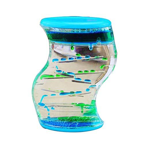 IanqAzwibvd-UK Wasser Motion Liquid Bubble Timer, Sensorisches Zappelspielzeug, Mehrfarbiges Schreibtischspielzeug Blau-Grün -