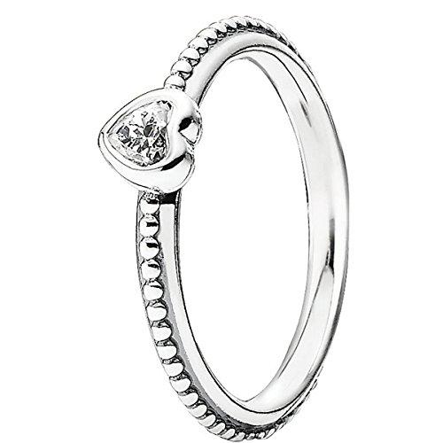 Pandora argento sterling 925 donna-anello zircone bianco 190896cz, argento, 8, colore: bianco, cod. 190896cz-48