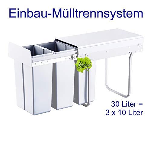 Made for us 30L Einbau-Mülleimer 3 x 10L Küchen-Abfalleimer 3er Müll-Trennsystem 30 Liter Abfallsammler zur 3-Fach Abfall-Trennung im Unterschrank Mülltrennung für Spüle