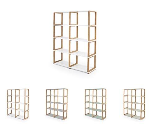 Tenzo 2324-001 ART Designer Etagère/Séparation de pièce Panneaux de particules/Chêne massif Blanc/Chêne 120 x 36 x 156 cm