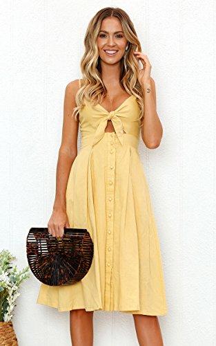 ECOWISH Damen V Ausschnitt A-Linie Kleid Träger Rückenfreies Kleider Sommerkleider Strandkleider Knielang Gelb XL