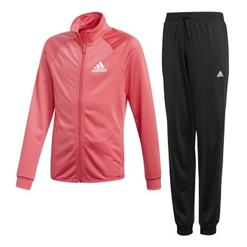 adidas Mädchen Separates Polyester Trainingsanzug, Top:Real Pink/White Bottom:Black/White, 140