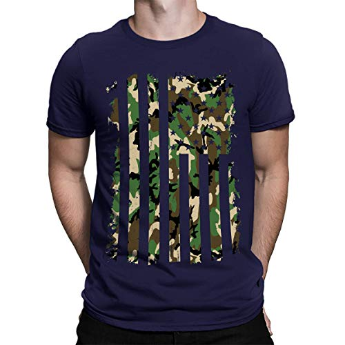 Distressed Camo American Flag Men's T-Shirt -