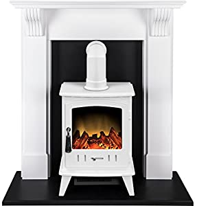Adam Harrogate Stove Suite with Aviemore Electric Stove in Pure White, 39 Inch