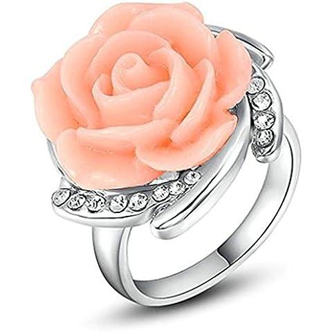 Anelli Donna Matrimonio Placcato Oro Pink Rose Flower Di Aienid