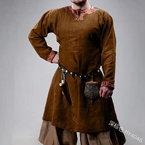 Halloween Männer Mittelalter Ritter Bühnengewand Krieger Cosplay Viking Pirate Saxon Tshirt Tunika Norman Chevalier Braid Bluse XXXL Dunkelbraun