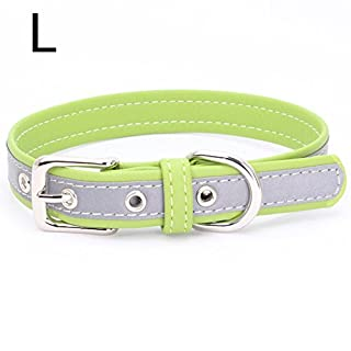 Awhao Pet PU Collar Adjustable Light-reflecting Pet Collar for Harnesses Leashes (L, Green)