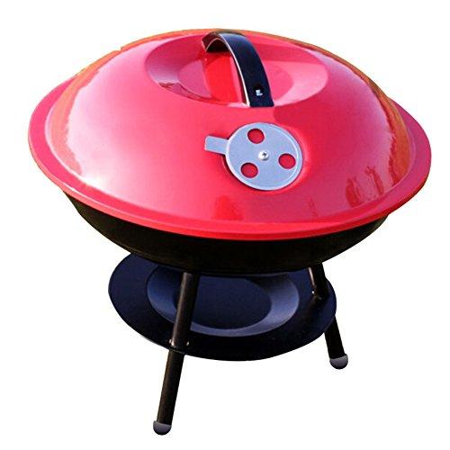 TY&WJ Outdoor Holzkohlegrill, Grill Hausgarten Tragbarer Barbecue Werkzeug Für hinterhof heckklappe party camping Bbq-Rot 37x37x29cm(15x15x11inch)