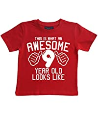 Edward Sinclair This What AN Awesome 9 Year Old Looks Like Red Boys 9th Birthday T-Shirt In Size 9-11 Years With A White Print T-Shirt