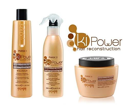 kit ricostruzione capelli ki-power echosline shampoo + lozione + maschera
