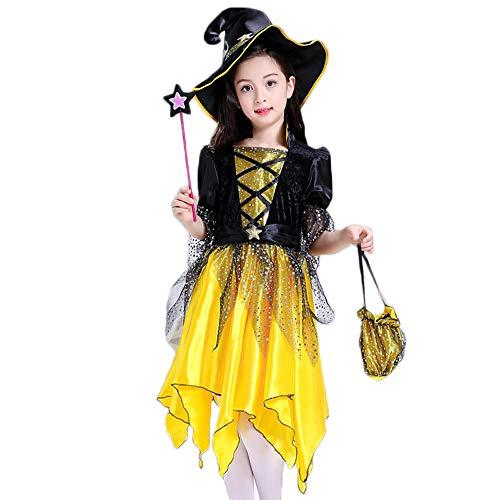 COIN Mädchen Halloween Kostüm Kleid Party Kleider Kleidung Set Hexen Kostüm für Kinder Kleid + Hut + Zauberstab Orange Gelb Schwarz Outfit 4-15Jahre