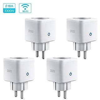 WLAN Smart Steckdose Intelligente Plug 16A Wifi Mini Stecker fernbedienbar mit Timer Funktion App Steuerung funktioniert Zoozee mit Amazon Alexa Google Home und IFTTT Control auf 2.4 GHz (4 Stück)