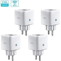 Prise Intelligente Connectée WIFI 3680W 16A Compatible avec Alexa Google Home IFTTT, zoozee Prise de Courant Compacte Contrôle par APP Gratuite ou Votre Voix