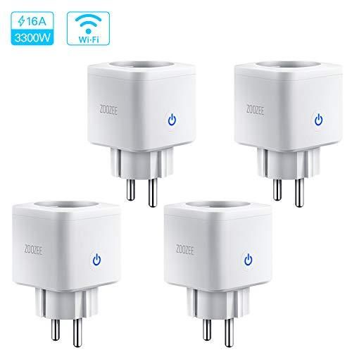 Prise Intelligente Connectée WIFI 3300W 16A Compatible avec Alexa Google Home IFTTT, ZOOZEE Prise de Courant Compacte Contrôle par APP Gratuite ou Votre Voix