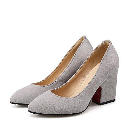 AllhqFashion Damen Hoher Absatz Rein Ziehen Auf Mattglasbirne Spitz Zehe Pumps Schuhe Grau