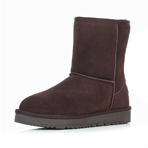 Schneestiefel Schneeschuhe Frau Winter Stiefel Verdickung Baumwolle gefütterte Schuhe Jugendliche Jugend Stiefel ( Farbe : Schokoladen-Farben , größe : 36 ) (Schuhe Schokolade Jugend)