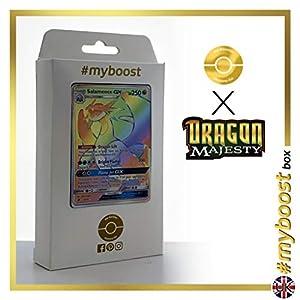 Salamence-GX 73/70 Arcoíris Secreta - #myboost X Sun & Moon 7.5 Dragon Majesty - Box de 10 cartas Pokémon Inglesas