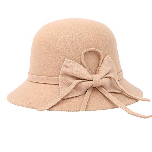 Sitong femme r¨¦tro arc imitation laine d?me chapeau Beige