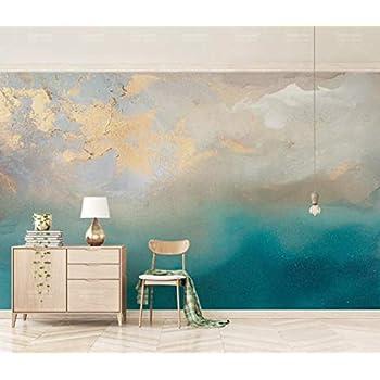 Papier Peint 3d Peinture à L Huile Abstraite Bleu Mer Texture Dorée Le Salon Chambre Moderne Papier Peint Intissé Décoration Murale