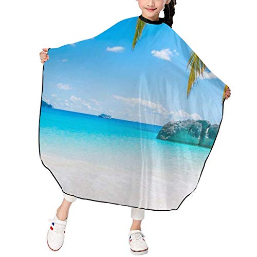 Haarschnitt-Schutzblech-Haar-Hausmantel-Umhang, Desert Tropical Island Palm Tree Beach Kid Haircut Hairdressing Cape Cloth Apron Hair Styling Cape Apron