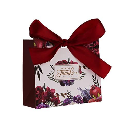 Flowow 50x11.5 * 4.5 * 10cm fiore rosso piccolo marsupio pacchetto tasche sacchetto regalo carta confezione cookie motivi fiori scatola portaconfetti bomboniere per giorno nozze nascita laurea natale