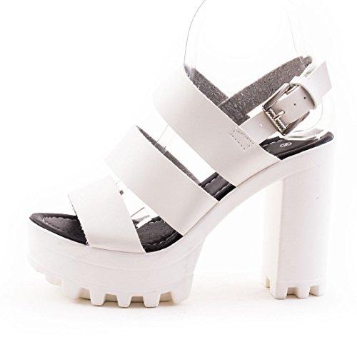 Trendige Damen Riemchen Sandaletten Plateau Schuhe mit Absatz und Track Sohle in hochwertiger Lederoptik Weiß NmjWHi