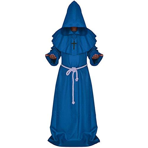 Priester Hohe Kostüm - Asdsda Halloween Mittelalterliche Mönch Kleidung, Mönch Roben, Zauberer Kostüm, Priester Kostüm, Pate Christian Priester Kostüm, Geeignet Für Höhe 160-185cm,Blue,XL