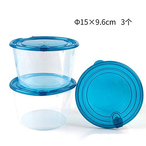 iHouse Round Kühlschrank Aufbewahrungsbox X3, Mikrowelle Heizung Lunchbox, Kunststoff transparent, Kinder, Erwachsene Lebensmittelbehälter, ohne BPA -