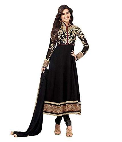 Varanga Fancy Embroidered Suits black georgette anarkali semi stitched dress material SAU2112