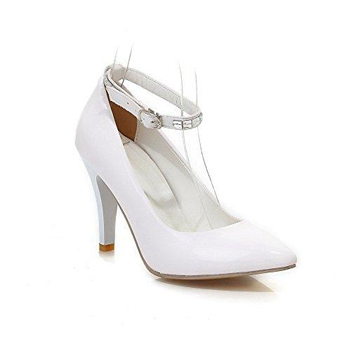 VogueZone009 Femme Verni Fermeture D'Orteil Pointu à Talon Haut Boucle Couleur Unie Chaussures Légeres Blanc