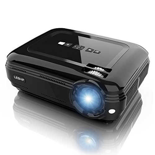 LESHP Full HD Beamer 1080P LCD Beamer 1280 x 1920 Höchste Resolution 720P Multimedia Projector mit kostenlosem HDMI & AV Kabel,Support TV/Smartphone/PC/,Support 1080p/USB/VGA/SD/HDMI/TV/AV (Schwarz)