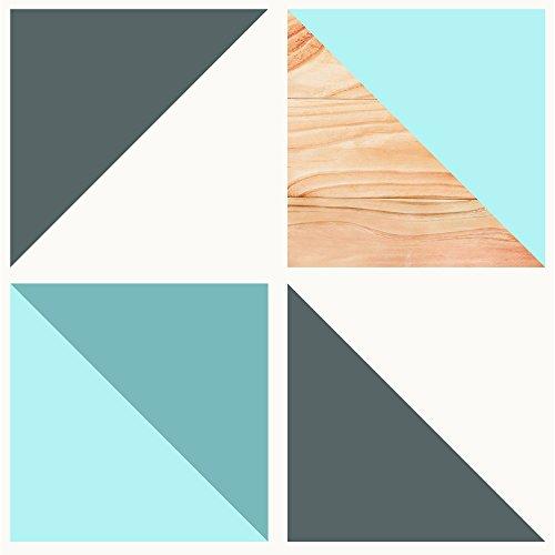 murando - Vlies Tapete - Deko Panel Fototapete - Wandtapete - Wand Deko - 10 m Tapetenrolle - Mustertapete - Wandtapete - modern design - Dekoration - Dreiecke Holz blau grau weiß f-A-0599-j-a
