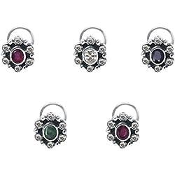 Shine Jewel 925 Silver Multi Stone Cubic Zirconia Nose Pin