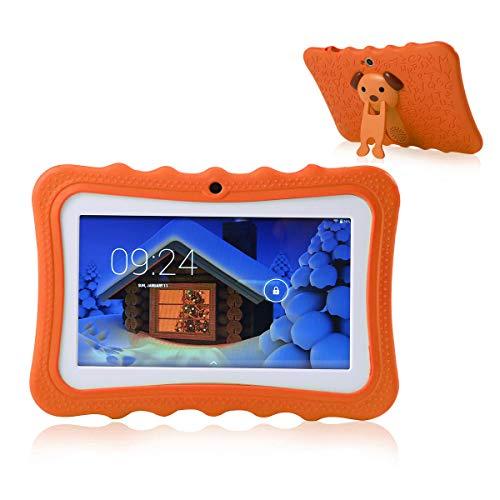 TEEPAO Tablet, Touchscreen, für Kinder, Tablet, 7 Zoll, WiFi, Android 4.4, IPS HD 1024 x 600, Silikon Schutzhülle für Stand, Tablet mit Kamera Orange