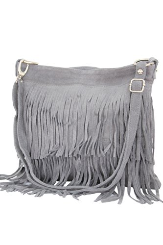 AMBRA Moda Damen Handtasche Ledertasche Umhängetasche Fransentasche Schultertasche Damentasche Wildleder 32 cm x 29 cm x 2 cm WL809 (Grau)
